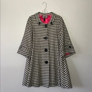 Houndstooth Belle Sleeve Button-down Pea Coat